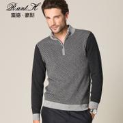 雷德豪斯羊绒衫男士拉链半高领羊绒衫秋冬新款加厚保暖毛衣纯羊绒