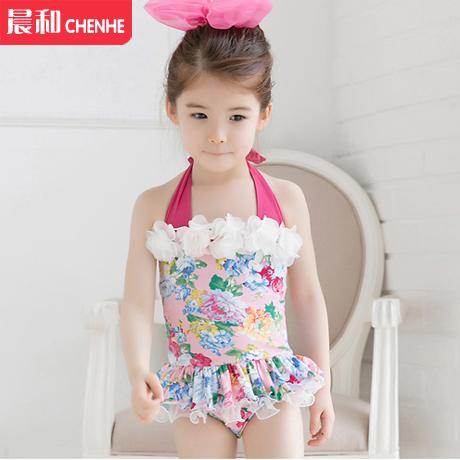 包邮 2-12岁 韩版宝宝儿童女童裙式连体分体比基尼泳衣 配泳帽