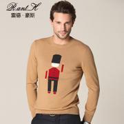 雷德豪斯秋冬新款男士圆领羊绒衫纯色针织衫青年羊绒衫男装毛衣男